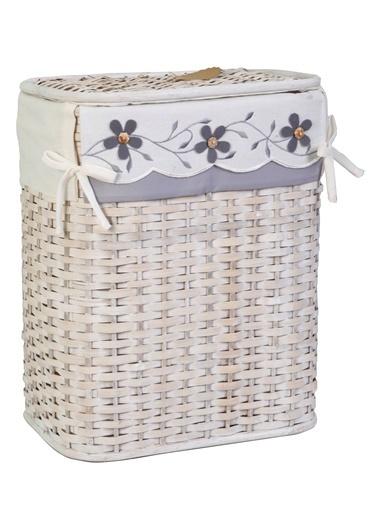 Kanca Ev Hasır Beyaz, Dikey Çamaşır Sepeti, Gri Çiçekli, Küçük Beyaz
